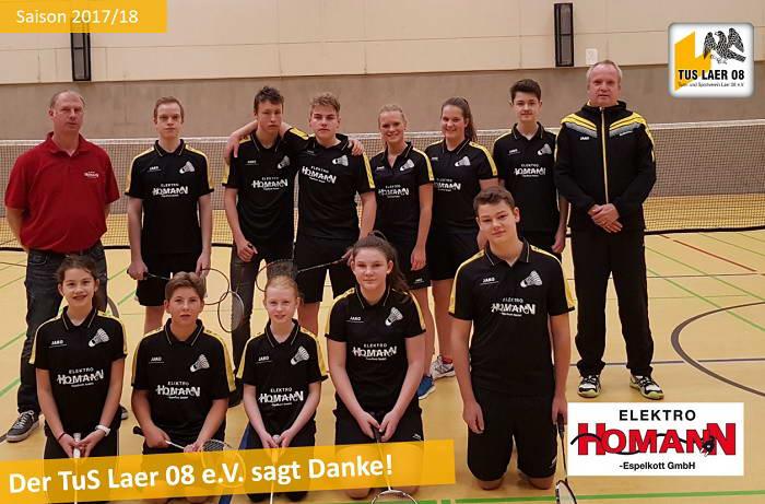 Homann & Espelkott sponsort Trikots für die U15 und U19 Badminton Jugend